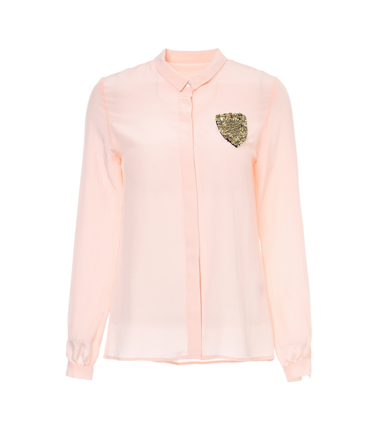 BWS004 HIGH quality with Epaulet font b women b font silk blouses with diamond badges font