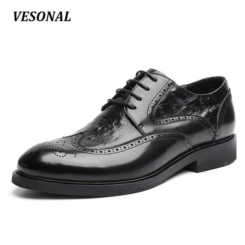 VESONAL Genuine Leather Brogue Designer Formal Business Office Dress Men Shoes Classic Elegant Mens Casual Oxfords Brown Black dxkzmcm men oxfords shoes black brown mens dress shoes genuine leather business shoes formal wedding shoes