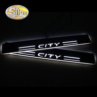 SNCN 4PCS Acrylic Moving LED Welcome Pedal Car Scuff Plate Pedal Door Sill Pathway Light For Honda City Grace 2015 2017 2018