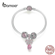 bamoer Pink Knot Charm Bracelet Infinity Love Heart Beads 925 Sterling Silver Pendant Jewelry European Luxury Brand SCB827(China)