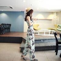 Bohemian summer chiffon printing harness one piece female Korean version of the skirt pants wide leg pants