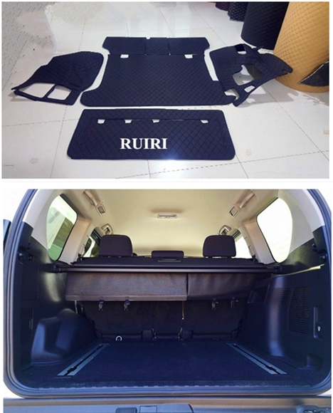 Full set car trunk mats + back door mat for <font><b>Toyota</b></font> Land Cruiser Prado <font><b>150</b></font> 5 seats 2018 2019 durable boot carpets cargo liner mat image