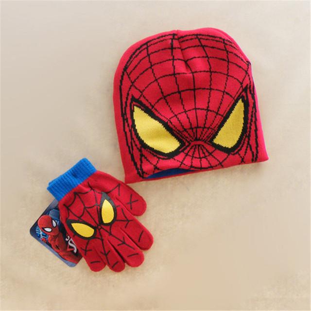 Autumn Winter Girls Boys Hat Set Cartoon Spider Man Warm Cap knitted Hat Gloves Children Hat Sets