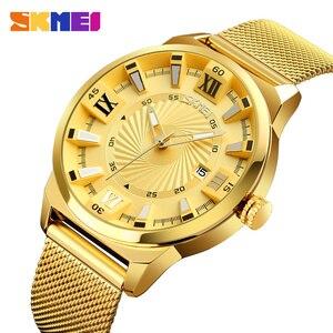 Image 1 - Reloj de cuarzo SKMEI de marca de lujo para hombre, relojes de pulsera con correa de oro para negocios, relojes de pulsera para hombre a prueba de agua, reloj Masculino 9166