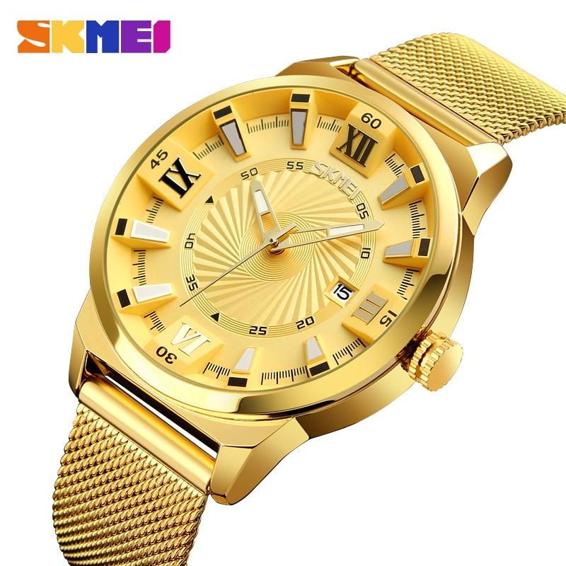 SKMEI Top Luxury Brand Men Quartz Watch Business Gold Strap Watches Male Waterproof Wristwatches Relogio Masculino 9166