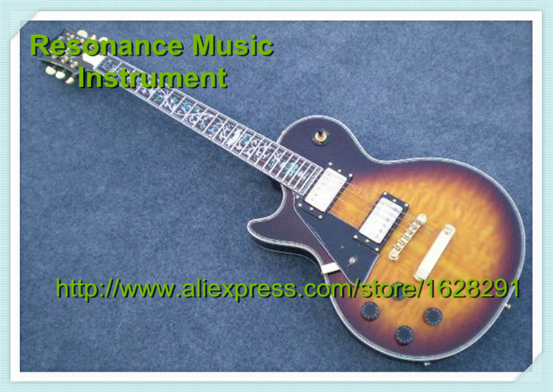 Custom Shop Vintage Sunburst 6 Strings Electric LP Guitar Left Hand Flower Inlay limited edition custom shop 5 strings dragonfly electric bass guitar maple neck through bamboo inlay china oem factory