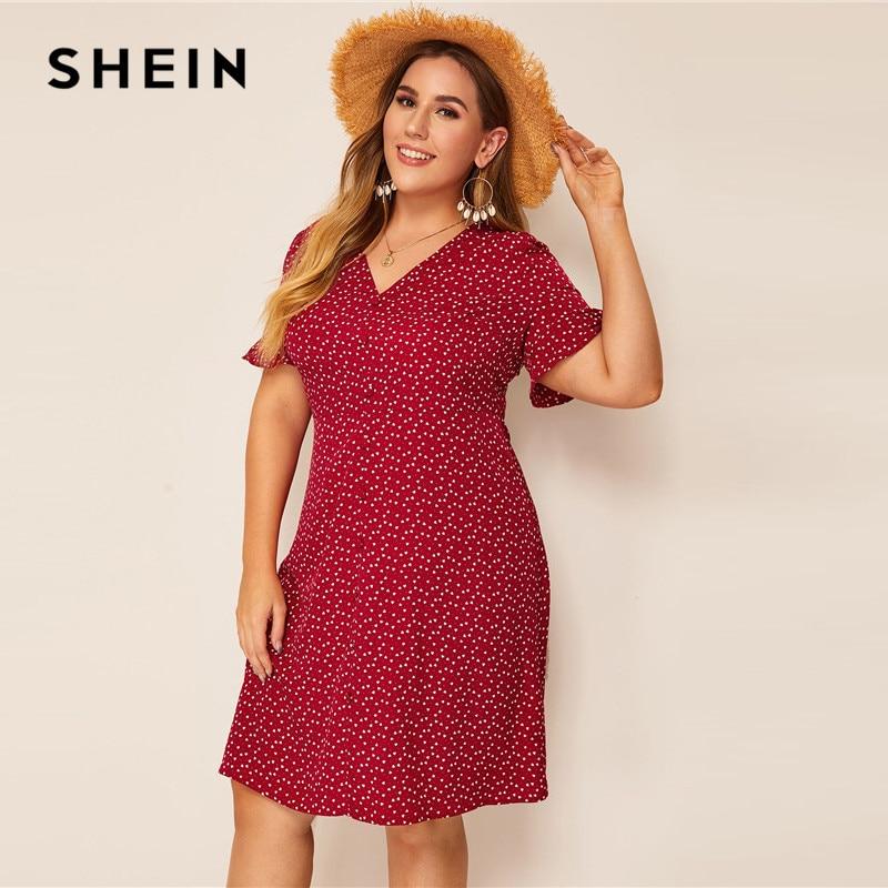 SHEIN Plus Size Heart Print Ruffle Cuff Button Up Dress Women Summer Boho Straight Shift Tunic Flounce Sleeve Plus Dresses