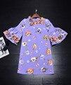 New Dress 2017 Весна Лето Женщины Повторяющийся Вышивка Flare Рукавом Прямо Элегантный Партия Симпатичные Фиолетовый Dress Над Коленом Девушки Носить
