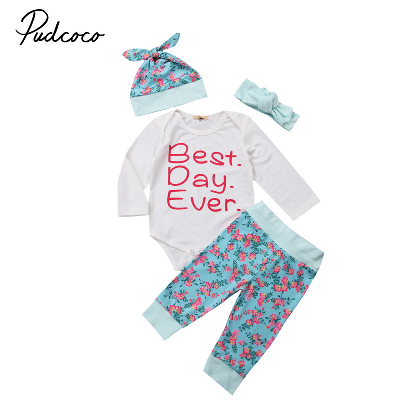 Newborn Baby Girls Clothes High Quality Long Sleeve Romper+Floral Pants +Hat +Headdress 4Pcs Outfits Cotton Baby Clothing Set