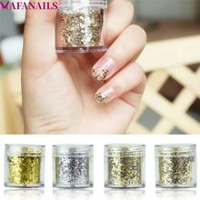1 Pot Gold/Silver Color Holographic Nail Glitter Powder Gradient Mix Sequins Flakes Art Decoration 10ML