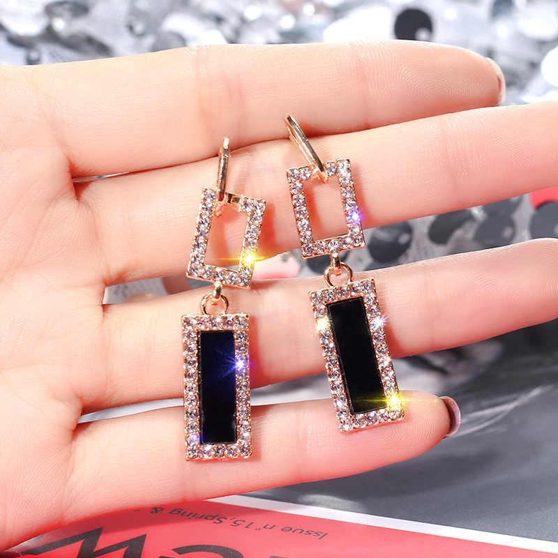 FYUAN 2018 Korean Style Geometric Rhinestone Drop Earrings Long Black Rectangle Dangle Earrings for Women Party Jewelry Gift