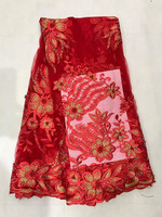 New Hot Sales Of Peach And Pearl Lace Fabric Beautiful African Sari Lace Mesh Fabric For