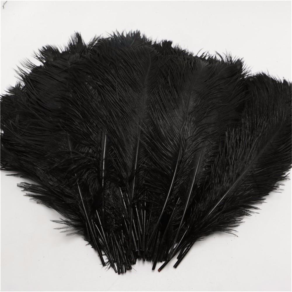 White craft feathers bulk - 25 30cm Fluffy Soft Ostrich Feathers Dye Black Feather For Craft Ostrich Plumes Wedding Party
