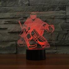 7 цветов изменить Спальня сна освещение 3d хоккей на льду вратарь