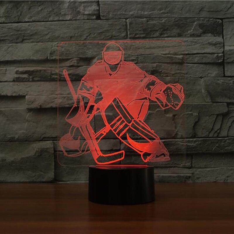 7 cambio de color dormitorio Sleep Iluminación 3D hielo Hockey portero modelado lámpara de mesa LED nightlights USB deportes Ventiladores regalos Decoración para el hogar