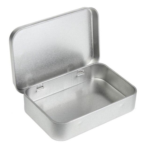 الفضة القصدير مربع 9.5 سنتيمتر العادي x 6 سنتيمتر x 2 سنتيمتر ، المستطيل الشاي كاندي بطاقتنا usb التخزين صندوق القضية-في صناديق وعلب تخزين من المنزل والحديقة على  مجموعة 1