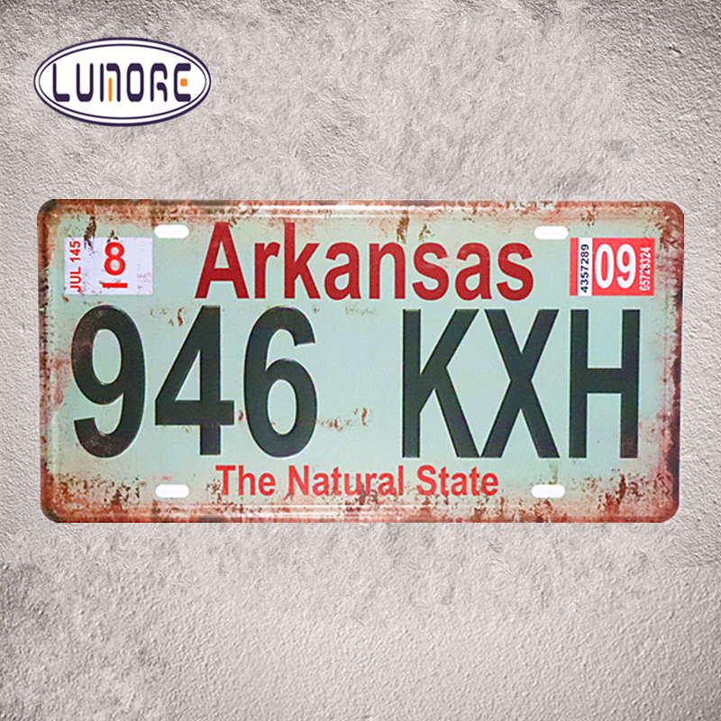 Car License plate number  Arkansas 946 KXH  Vintage Tin signs Home Bar Pub Wall Poster Plate Garage Pub Bar Home Wall Decor