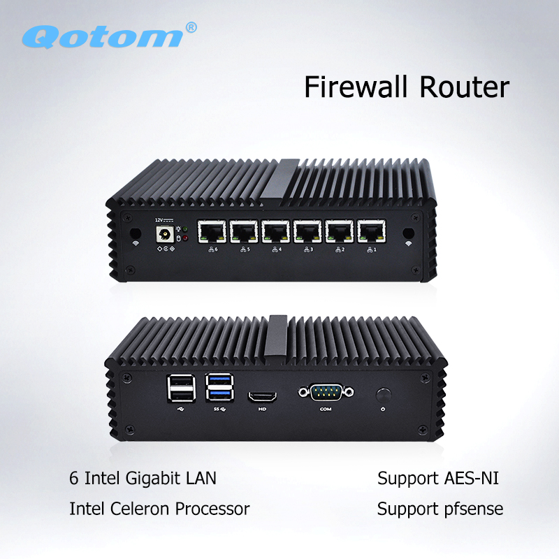 Qotom Mini PC 6 LAN Firewall Router Server Industrial micro pc Thin Client ddr4 dual core AES-NI Fanless pfsense Mini Computer newest mini pc computer celeron j1800 2 41ghz dual lan n2830 industrial thin client no fan design micro windows7 os 2 rs232
