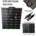 Бесплатная доставка 50 Вт ETFE солнечная панель 18 в Гибкая солнечная панель солнечная батарея 12 в зарядное устройство с покрытием слоя ETFE