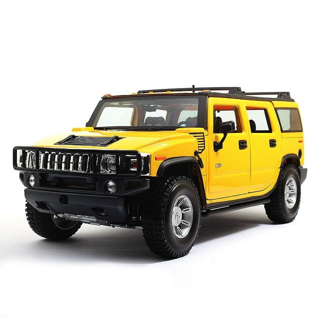 Maisto Diecast 1:18 Scale Hummer H2 Model Car Yellow/Black/White Vehicle Off-Road King Collectible Car Toy for Kids Gift