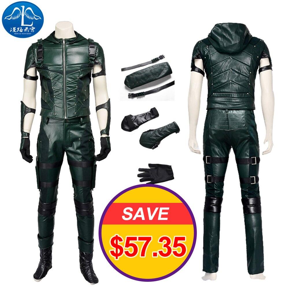 ManLuYunXiao Green Arrow Season 4 Cosplay Costume Adult Men Fancy Halloween Costumes Oliver Queen Green Arrow Costume