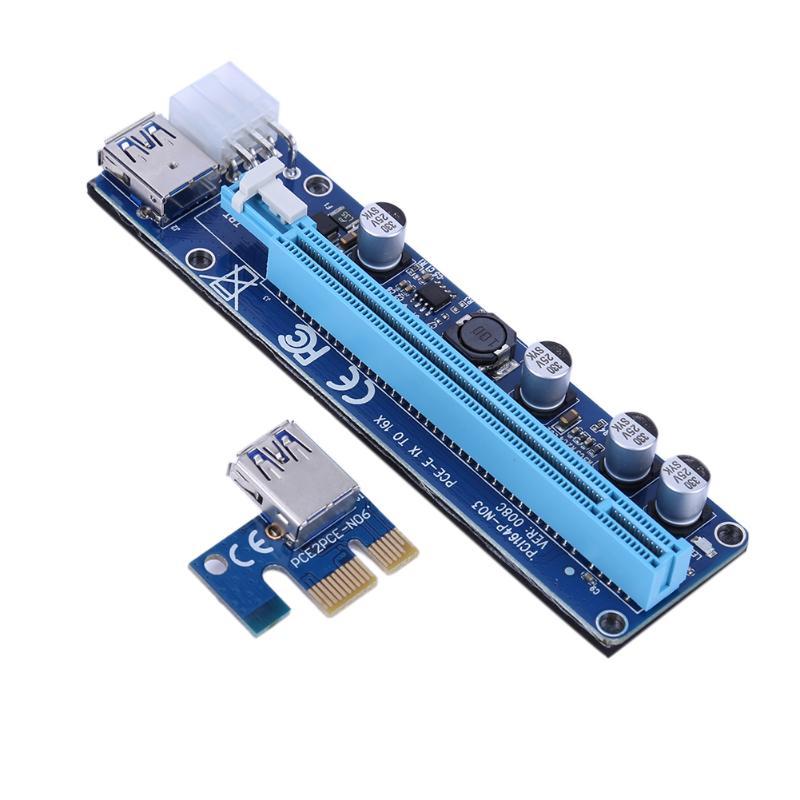 008C USB 3.0 PCI-E PCI Express Extension Câble 1X à 16X Extender Riser Minière Dédié Carte Adaptateur Fil Carré 6PIN fil