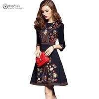 2018 Spring Autumn Dress Women O Neck 3 4 Sleeve Embroidery Elegant Dress Vintage Medium OL