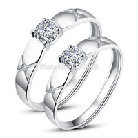 Korean Version Of The S925 Silver Seiko Opening Couple Ring Womens Cubic Zirconia Rings Gifts