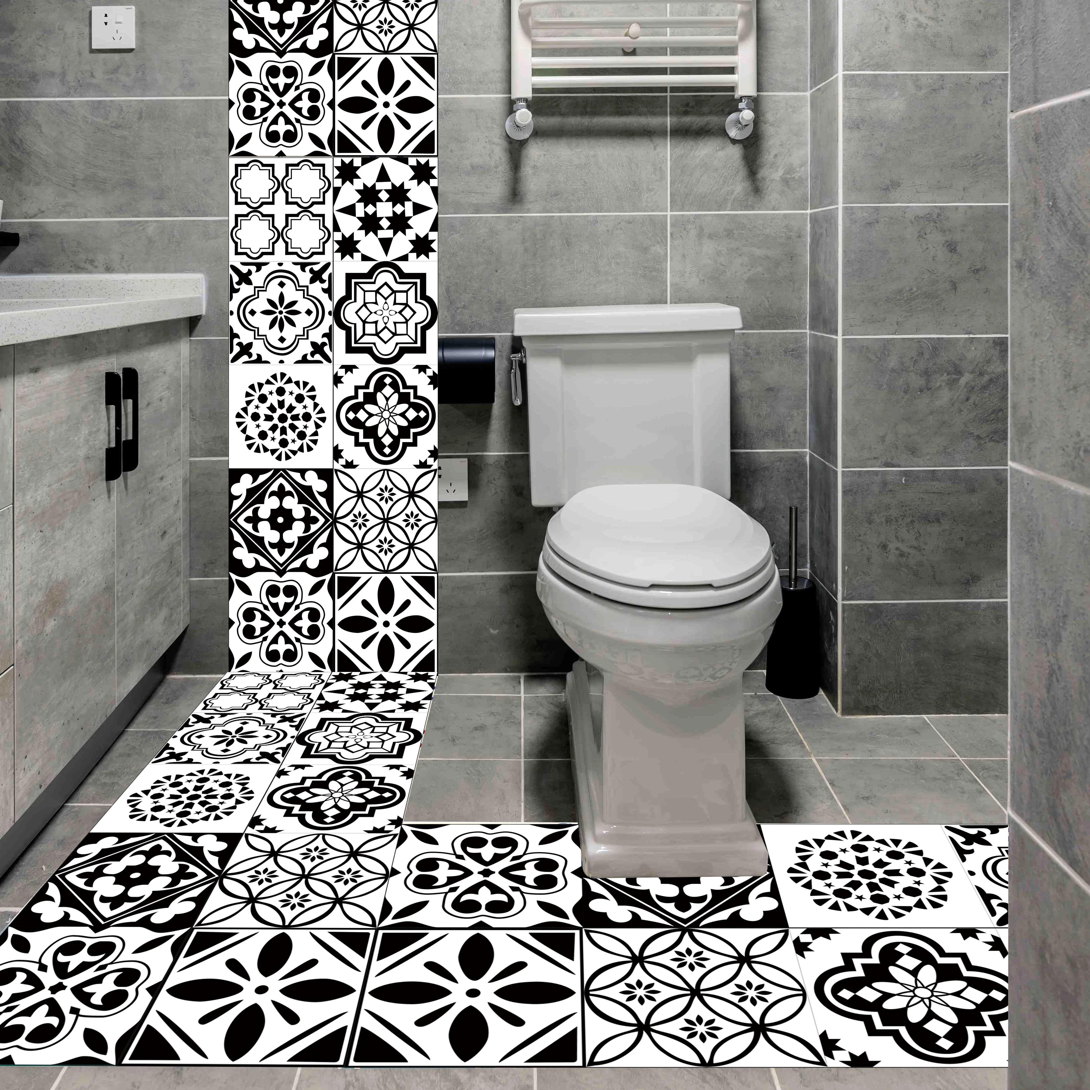 autocollant carrelage retro noir et blanc autocollant mural impermeable en pvc de style nordique pour la cuisine la salle de bain decor a la