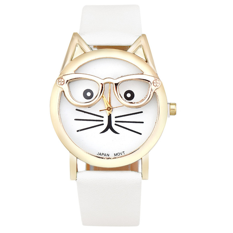 Watch Women Girl Student Steel Case Leather Casual Fashion Female Glasses Cat Watches Luxury Brand Bracelet Quartz Watches  #D