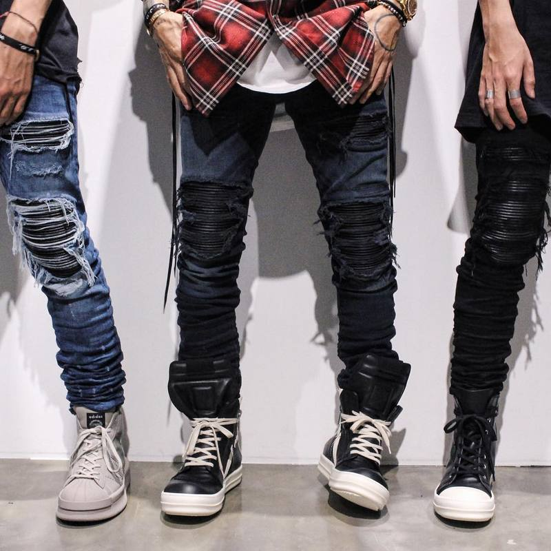Hi-Street Mens Ripped Rider Biker Jeans Motorcycle Slim Fit Washed Moto Denim Pants Joggers Slim Skinny Hiphop Jeans For Men