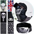 Punk nuevo 3 in1 hombres mujeres Unisex sombrero del cráneo tubo Snood cara máscara de esquí del capo casquillo de la gorrita tejida bufanda Biker Balaclava Halloween W1