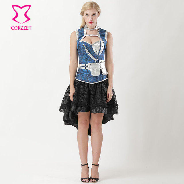 8b64178b60 6XL Blue Floral Jacquard Steel Boned Plus Size Corset Skirt Steampunk  Clothing Victorian Corpetes E Corselet Overbust Sexy Dress