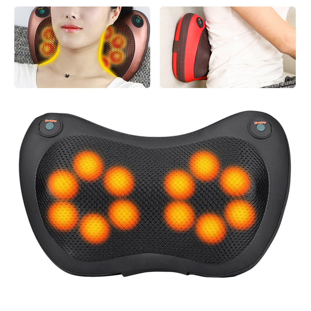 8/6/4 Head Shiatsu Massage Pillow Home Car Back Neck Massager Cushion Relief Pain Electric Massage Apparatus for Neck Back