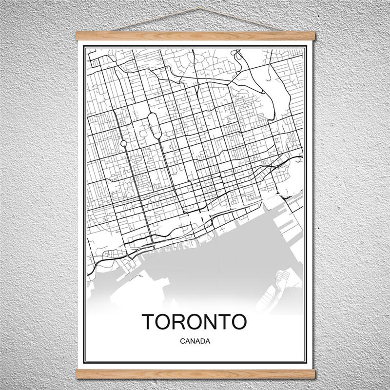 Toronto canada black white world city map modern print poster coated with frame toronto world city map abstract print picture modern poster canvas customized pattern oil painting gumiabroncs Choice Image