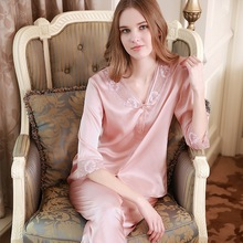 Sexy Silkworm Silk Pajama Sets Female Two-Piece 100% Sleepwear Women Sweet Lace Half-Sleeve Pyjama Home Clothes YF1619