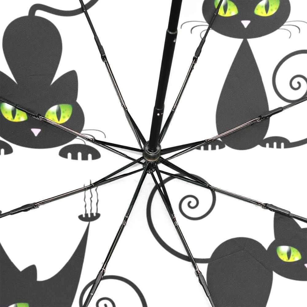 Gato bonito preto revestimento guarda-chuva chuva feminino paraguas anti-uv ensolarado e chuvoso gatinho mau à prova de vento guarda-chuvas masculino feminino