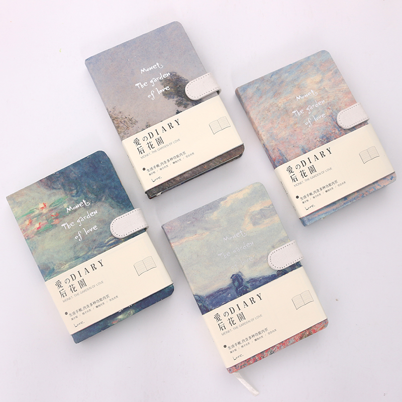 LENWA Monet Series Notebook Color Side Magnetic Buckle Notebook Thicker Notebook 1PCS lenwa classic van gogh series notebook a6 vintage business carry small portable notebook 1pcs