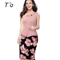 TO New Arrival Spring Summer Euro US Fashion Vestidos Print Floral Patchwork Casual Work Sleeveless Bodycon