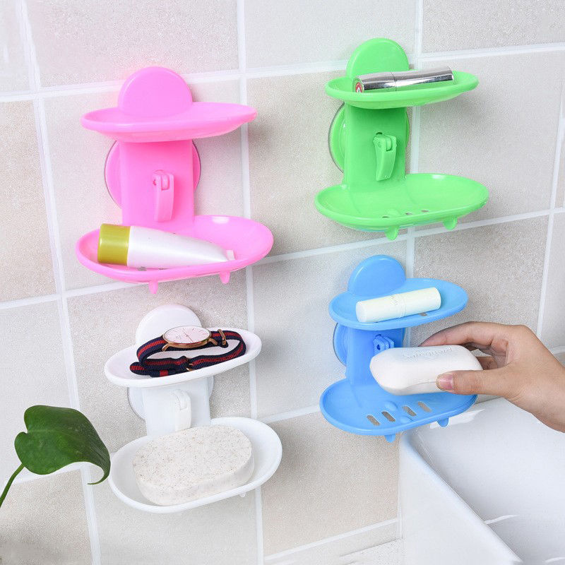 Double Layers Soap Dish Bathroom Sucker Container Holder Soap Box Storage Basket