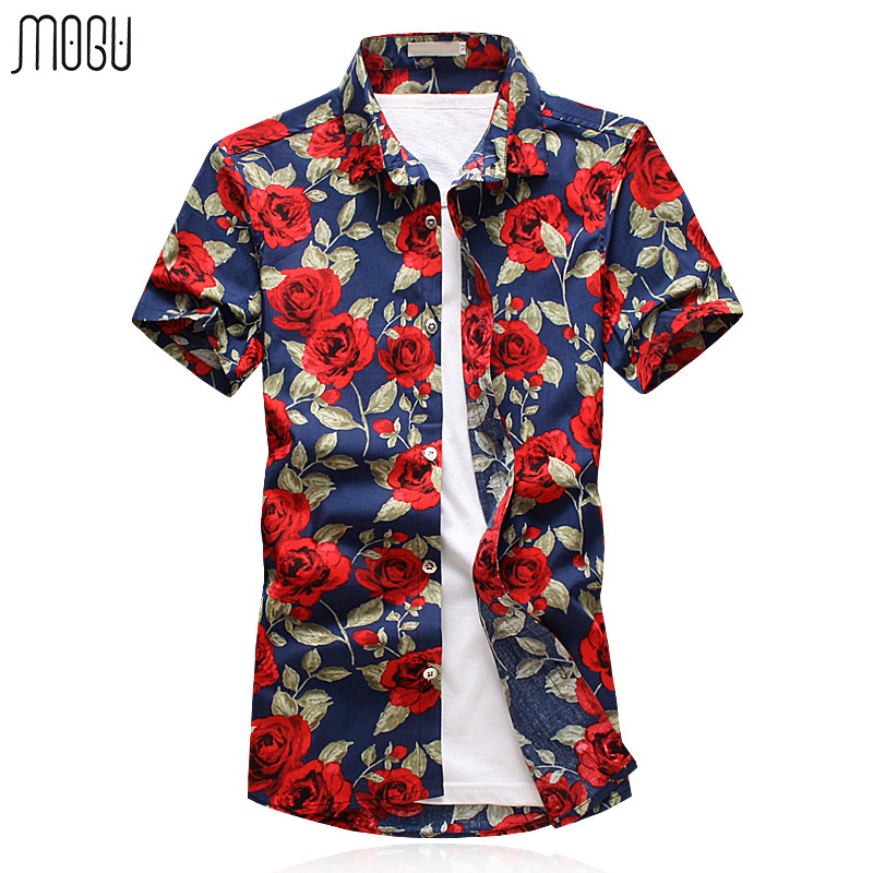 Mogu short sleeve hawaiian shirt men 2017 summer new for Mens slim hawaiian shirt
