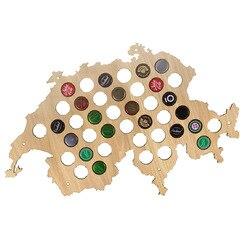 Szwajcarski piwa Cap mapa do butelek mapie szwajcarii najlepszy prezent patriotyczne dekoracje ścienne drewniane wiszące Craft mapę  aby piwa miłośnik