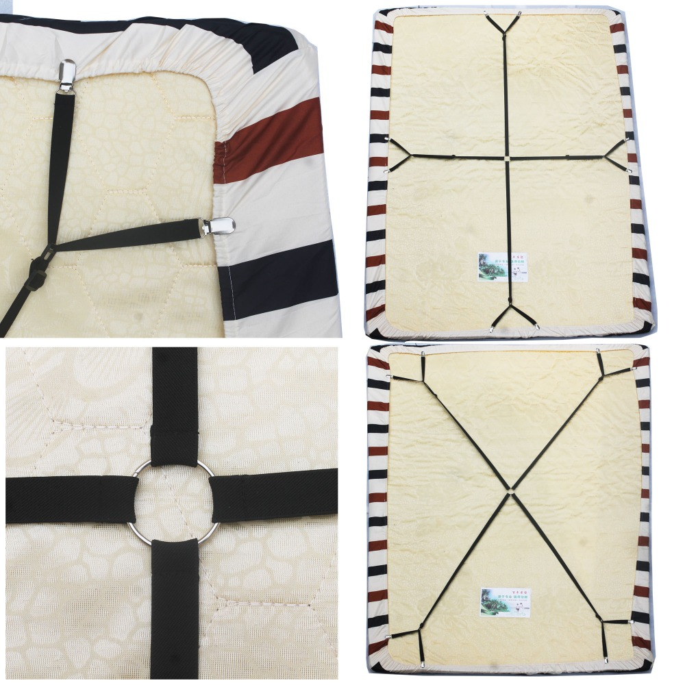 Crisscross Adjustable Bed Fitted Sheet Straps Suspenders Gripper