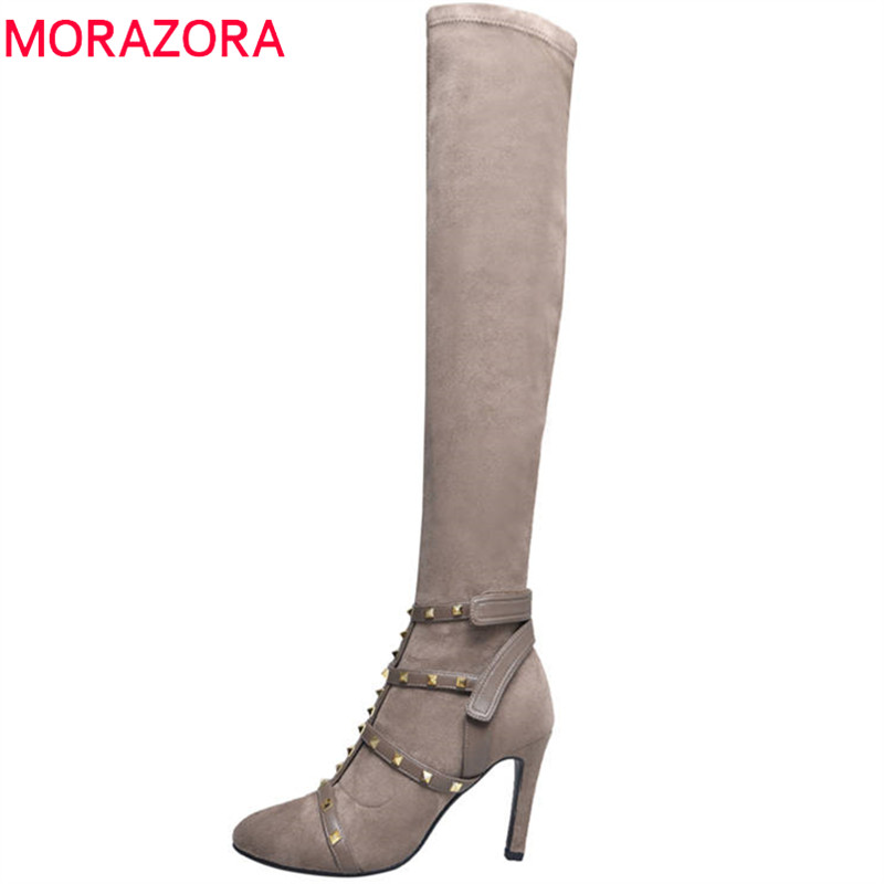 MORAZORA 2018 fashion hot sale new over the knee boots women suede leather Stretch socks boots sexy thin high heels shoes woman купить недорого в Москве