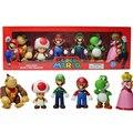 6 unids/lote Super Mario Bros waluigi figuras de dragón verde conjunto con caja de 2016 Nueva serie 3 bros super mario figuras de acción partido