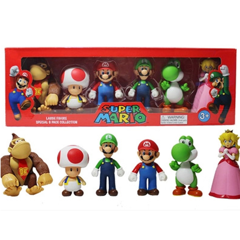 6pcs/lot Super Mario Bros waluigi green dragon figures set with box 2016 New super mario series 3 bros action figurines party