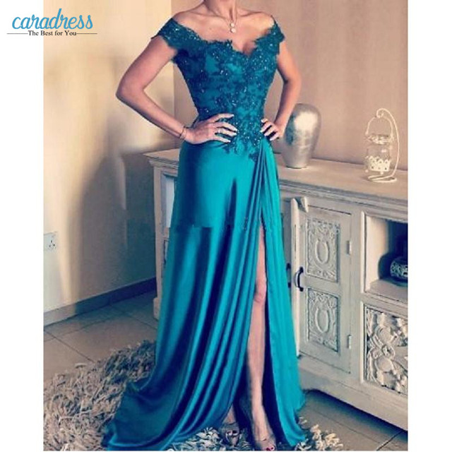 afabbe2862b9 Turquoise Green Off Shoulder Evening Dresses Appliques Beaded Satin Split  Side Backless Long Evening Gowns Formal Prom Dresses