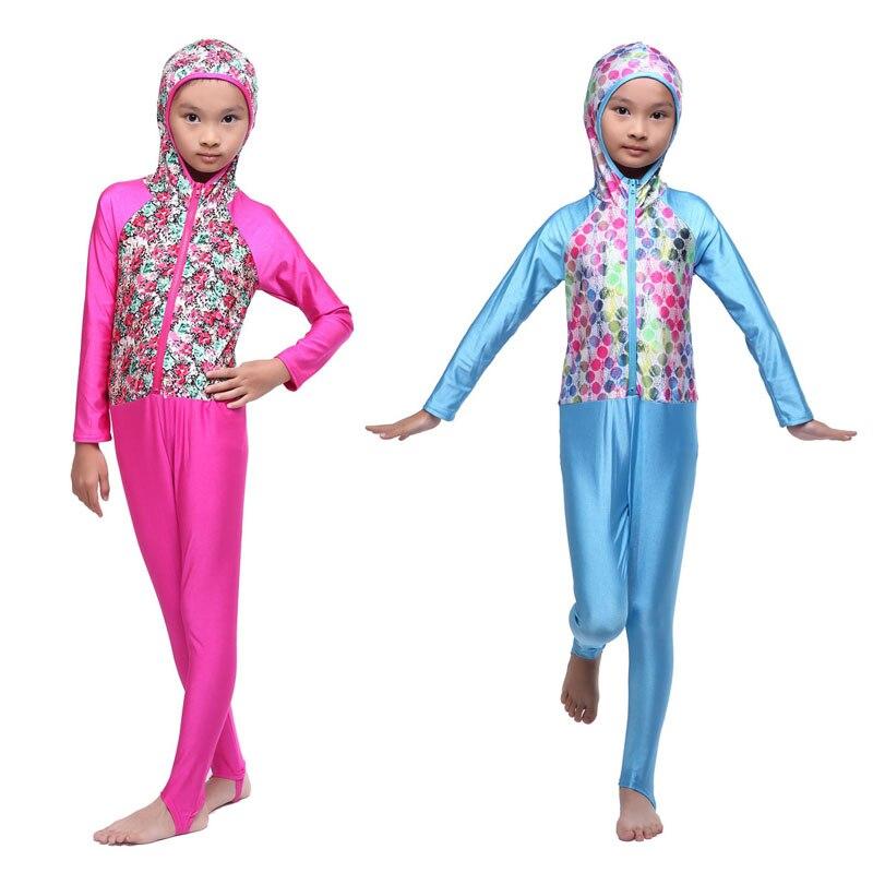 New One Piece Swimming Suit Children Muslim Full Cover Swimwear