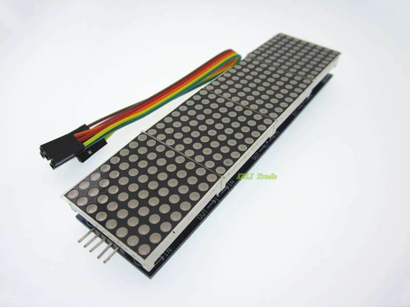 5pcs/lot MAX7219 Dot Matrix Module For Arduino Microcontroller 4 In One Display with 5P Line