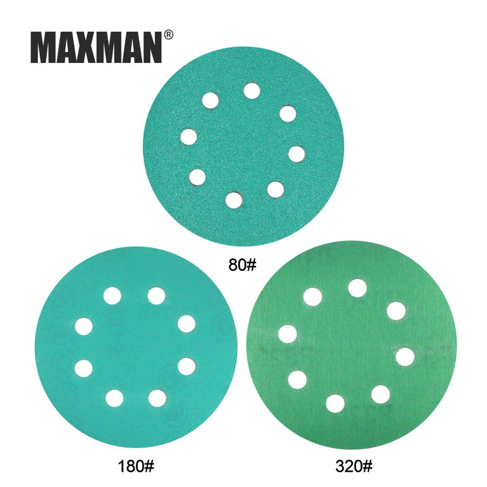 MAXMAN 10Pcs 5Inches 8-Hole Sandpaper  60-2000 Grits Green Film Sanding Disk Flocking Water Sand Dry/Wet Grinding